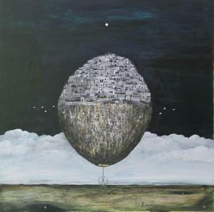 """balanced world"", 76x76cmMan Yung Gallery, Melbourne"
